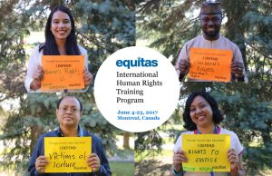 Four human rights defenders at the Equitas International Human Rights Training Program, including Philip Obaji