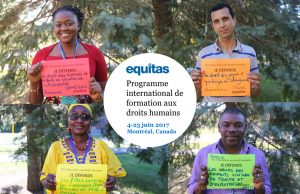 Quatre participants du Programme international de formation aux droits humains d'Equitas