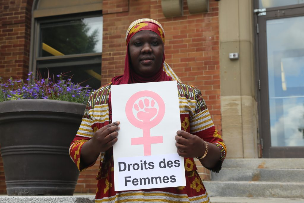 Women's rights defender Salie Thiam, 2017 receipient of the Ruth Selwyn bursary, at Equitas' International Human Rights TRaining Program in Montreal, Canada